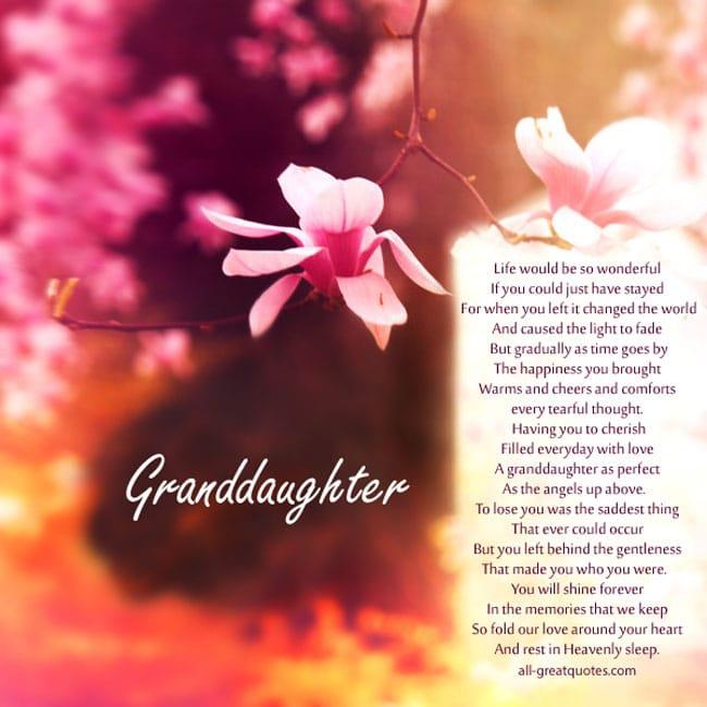 In Loving Memory Cards For Granddaughter