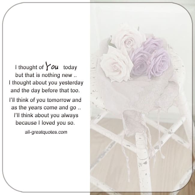 In Loving Memory Cards Thinking Of You Today