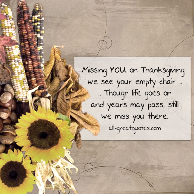 Missing You On Thanksgiving | Thanksgiving Grief Loss Cards