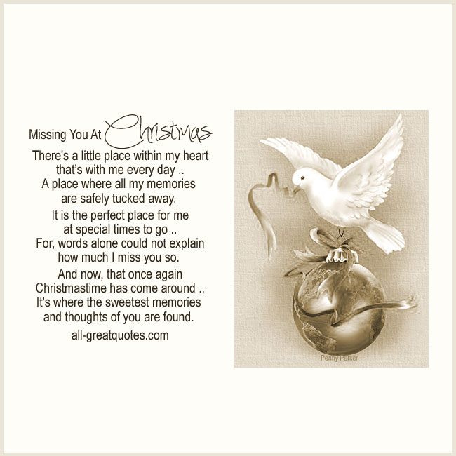 Memorial Cards For Christmas – Missing You At Christmas - Christmas In Heaven Cards Dove Carrying Christmas Ball By Penny Parker