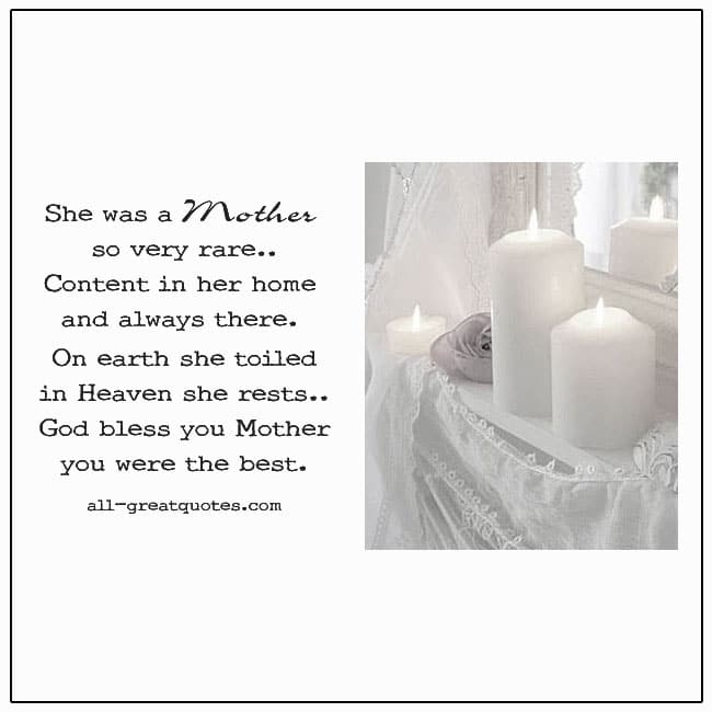 She Was A Mother So Very Rare Mother In Heaven Cards