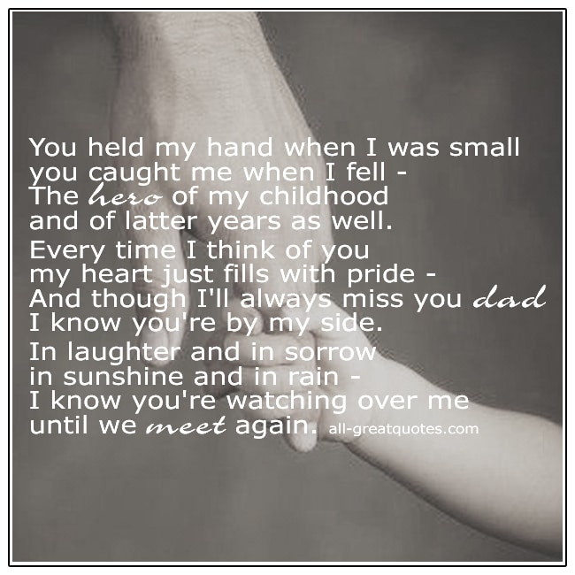 You Held My Hand When I Was Small Dad Grief Poems