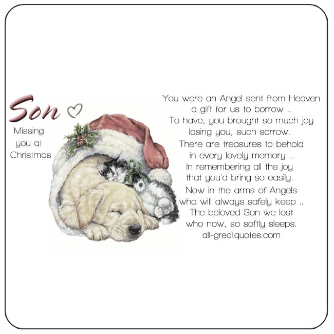 Memorial Cards For Son At Christmas – You Were An Angel Sent From Heaven