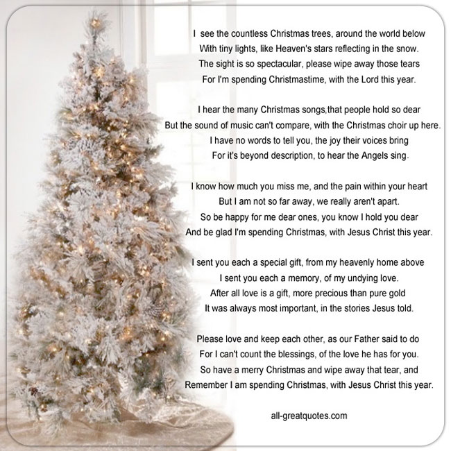 Memorial Cards For Christmas – I see the countless Christmas trees around the world below