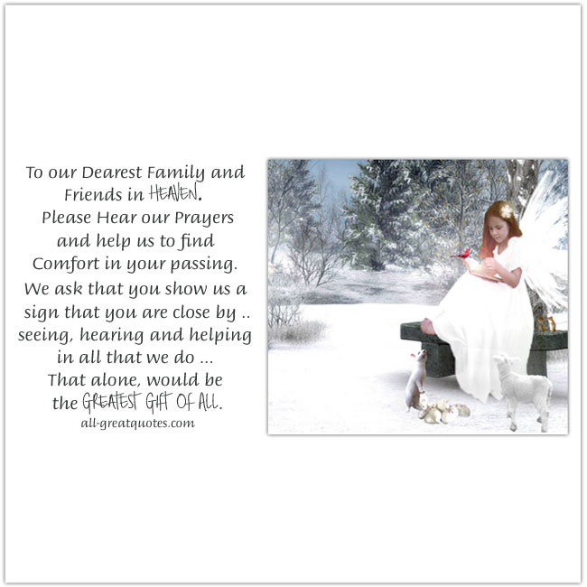 To our Dearest Family and Friends in Heaven | Christmas In Heaven Card For Facebook