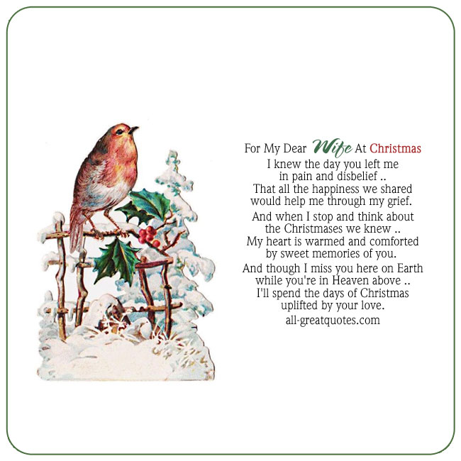 Memorial Cards For Wife At Christmas – For My Dear Wife At Christmas