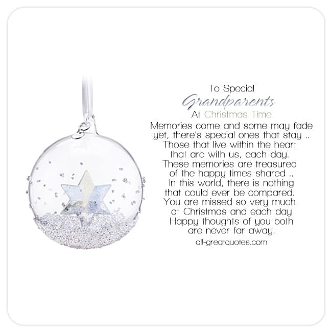 Memorial Cards For Grandparents – To Special Grandparents At Christmas Time
