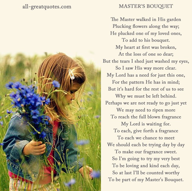 Memorial Cards The Master walked in His garden, plucking flowers along the way
