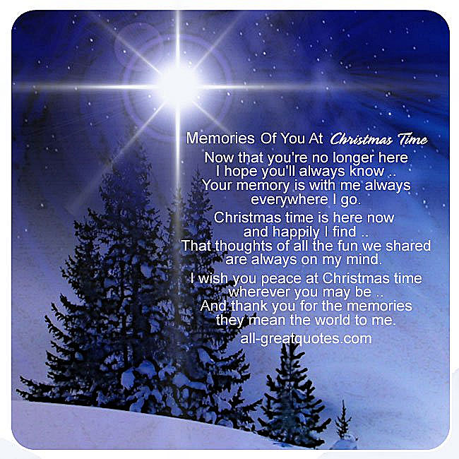 Christmas in heaven card - Memories of you at Christmas Time