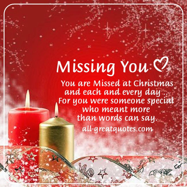Missing you at Christmas card and poem to share on Facebook. Candles, red background