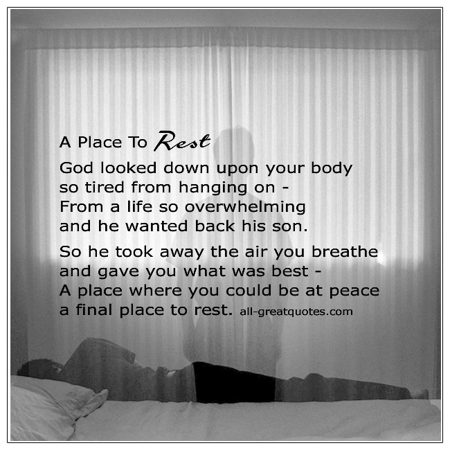 A Place To Rest Grief Poems About Death Of Son