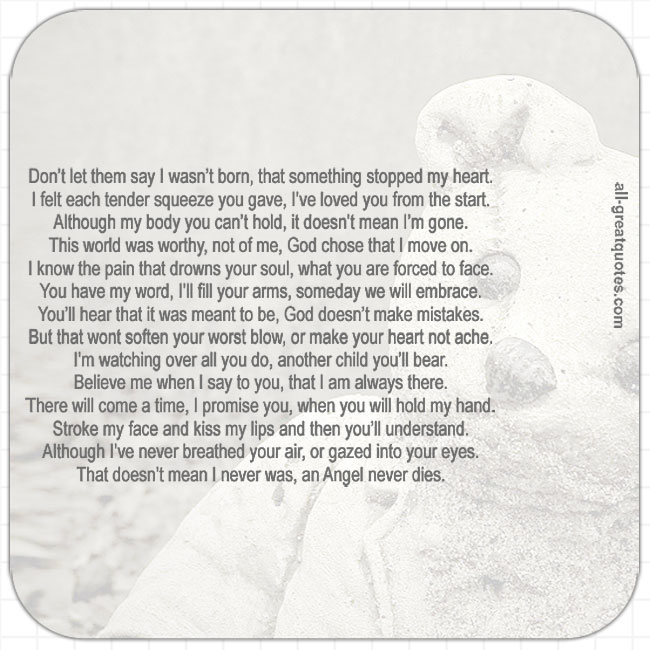 Don't let them say I wasn't born miscarriage poem cards