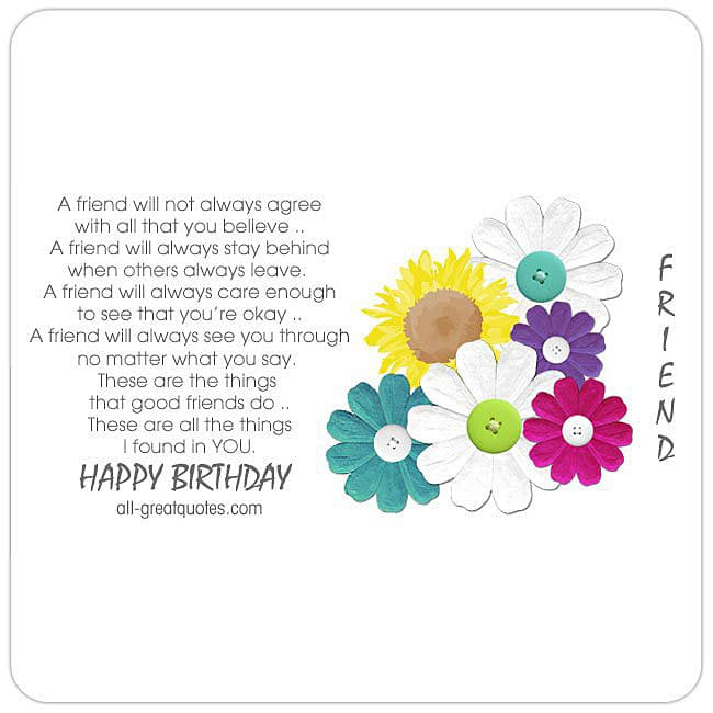 Birthday Cards For Friends Happy Bright Flowers With Poem