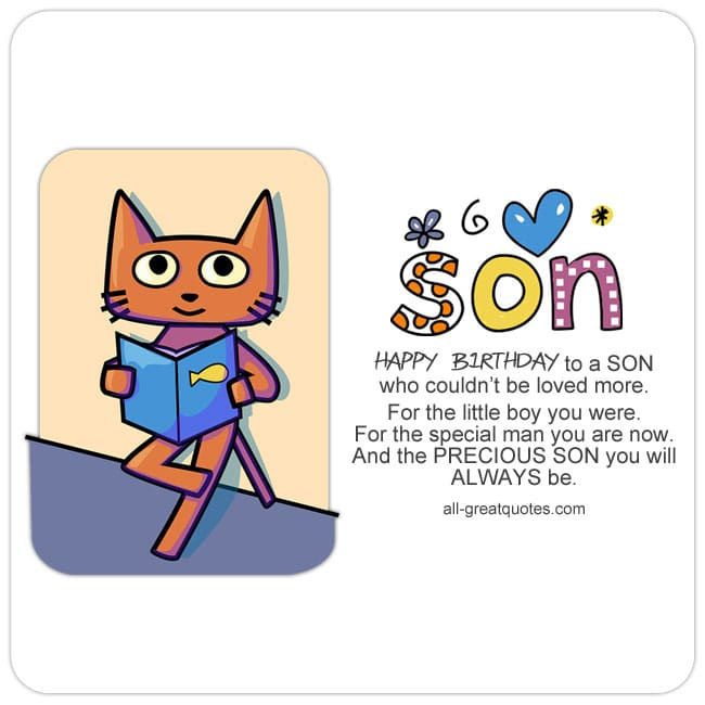 happy birthday to a son who couldn t be loved more free son cards rh all greatquotes com happy birthday son free clip art happy birthday son clip art you are a legend