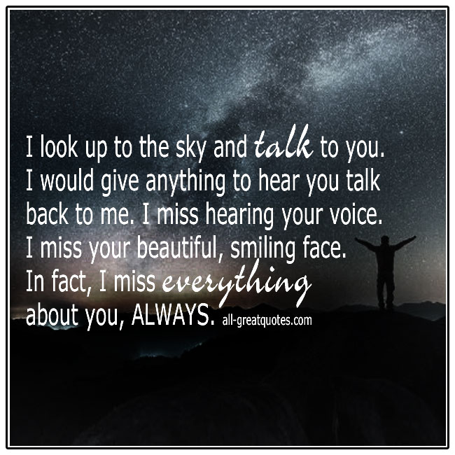 I Look Up To The Sky And Talk To You Grief Loss Picture Quotes