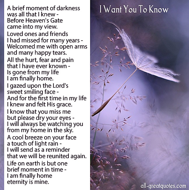 I Want You To Know Grief Poem