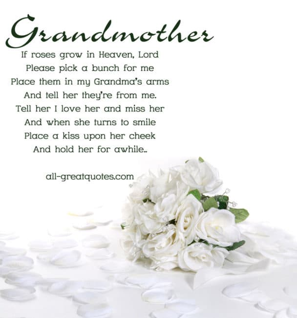 In Loving Memory Grandmother If Roses Grow In Heaven Lord