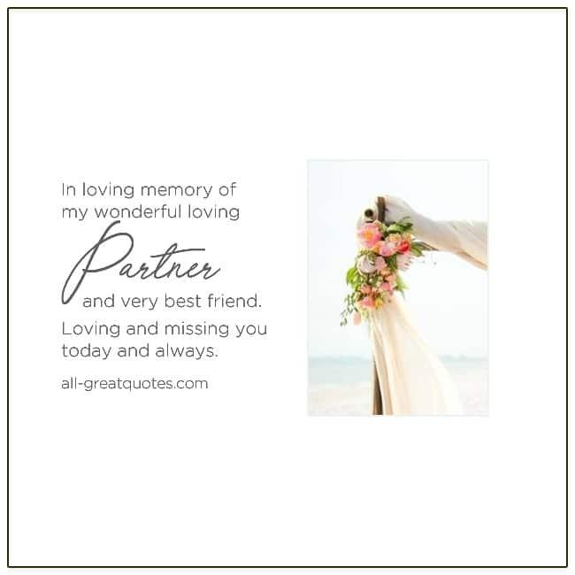 In Loving Memory Of My Wonderful Loving Partner