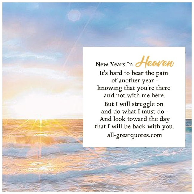 new years in heaven card beach sunset image