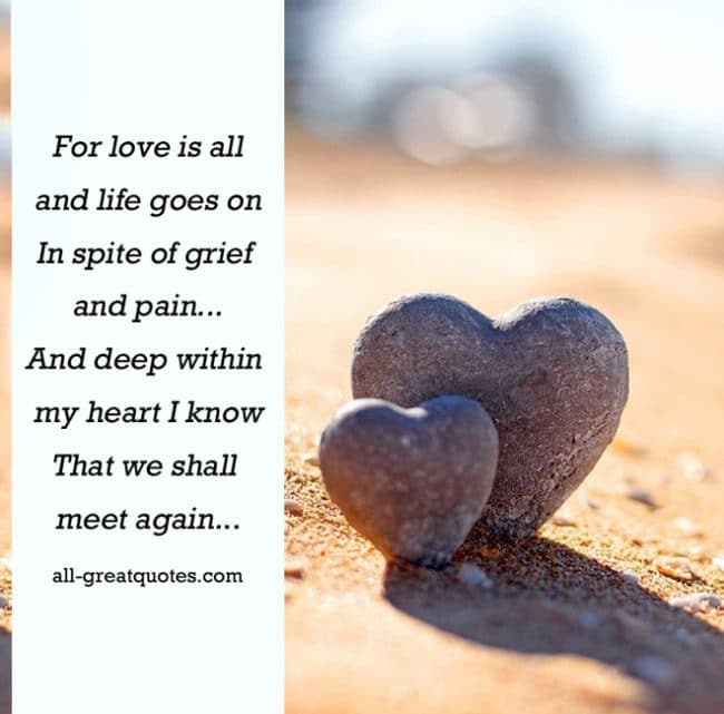 In Loving Memory Cards For love is all and life goes on
