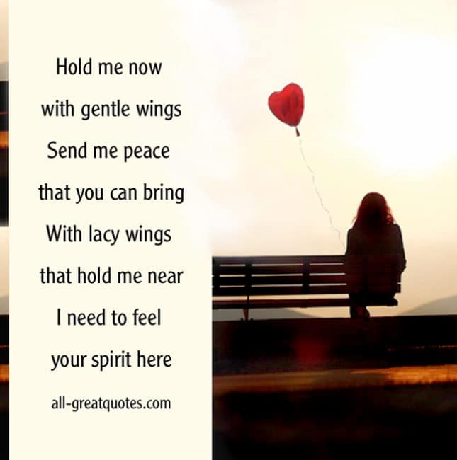 In Loving Memory Cards Hold me now with gentle wings