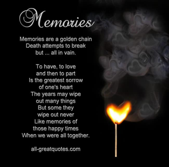 Memorial Cards Memories are a golden chain