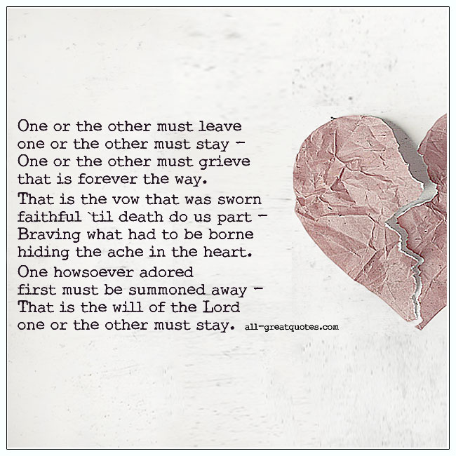 One Or The Other Must Leave Grief Poem Cards