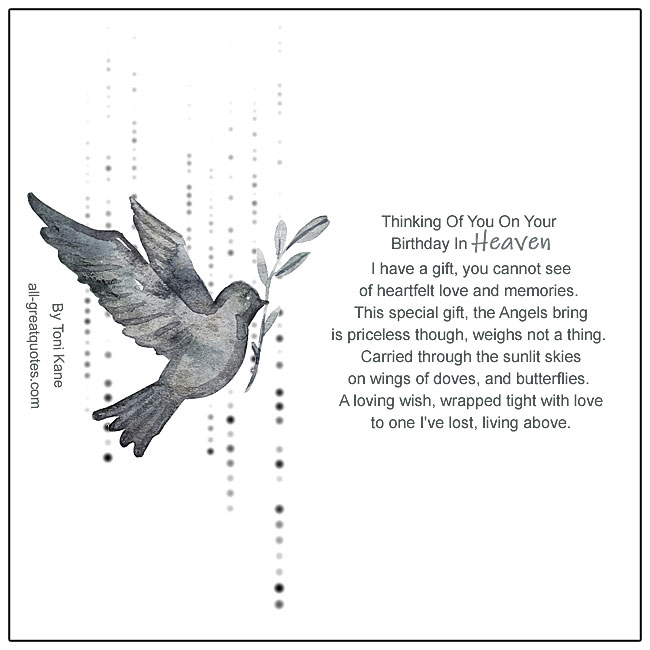 In Heaven Birthday Card With Heartfelt Poem And Dove Picture