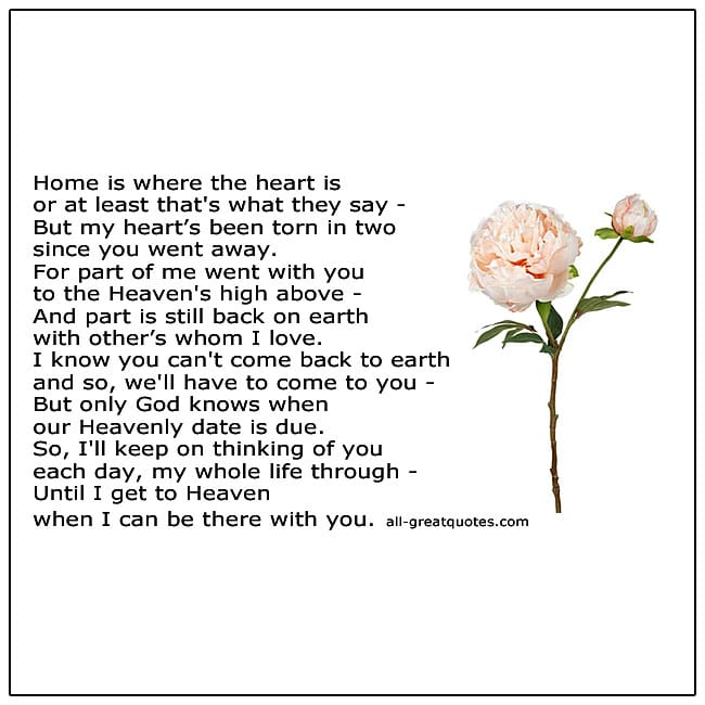 Until I Get To Heaven Where I Can Be There With You Memorial Poem
