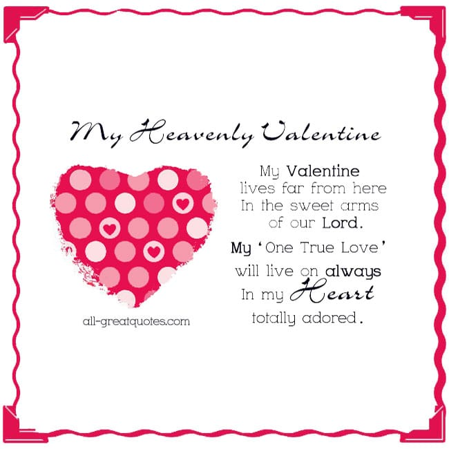 Valentine In Heaven Card Heart Picture Nice Verse