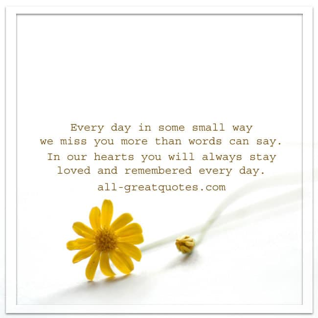 Everyday In Some Small Way Grief Loss Poem Card For Facebook