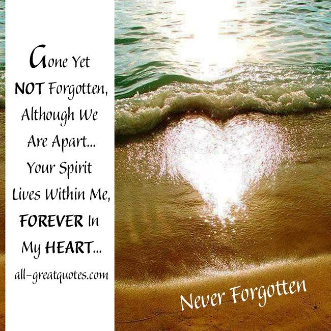 In Loving Memory Cards Gone Yet NOT Forgotten
