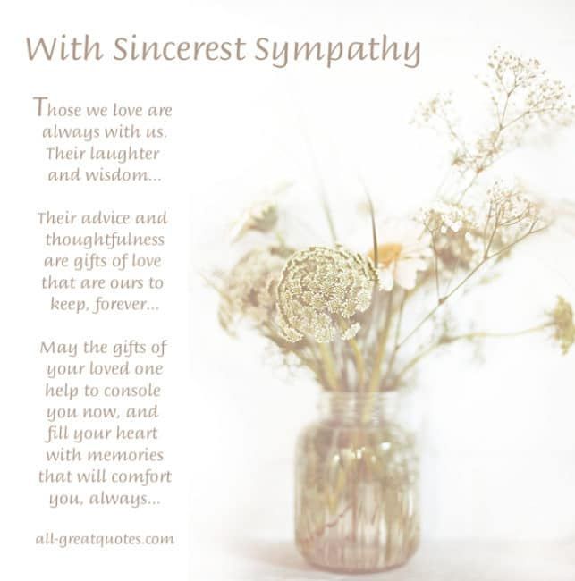 With Sincerest Sympathy - Those we love are always with us
