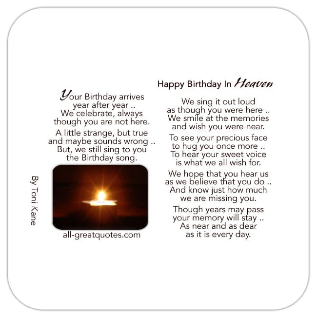 For Your Birthday In Heaven Card For Facebook