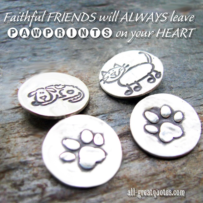 Free Memorial Cards For Pets Pawprints on your heart