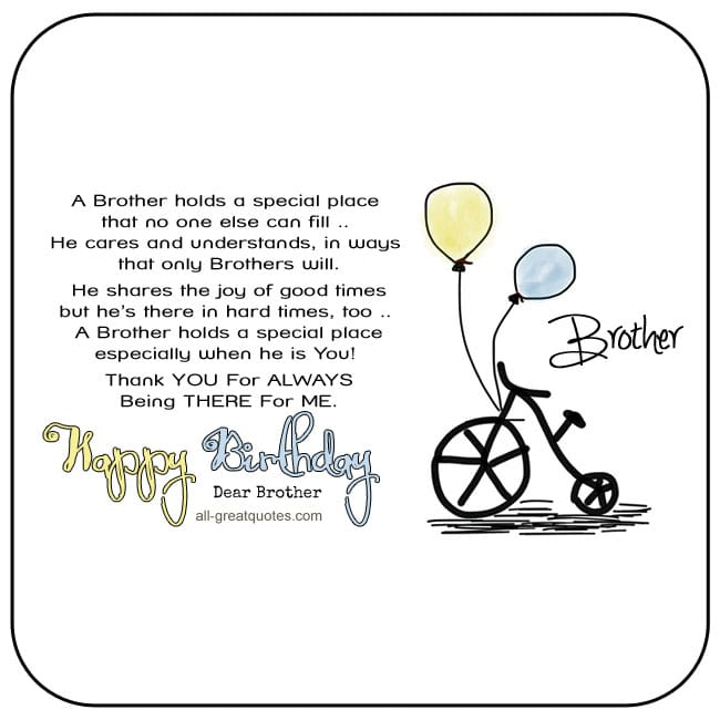 Thank You For Your Birthday Wishes For Being There: Free Birthday Cards For Brother