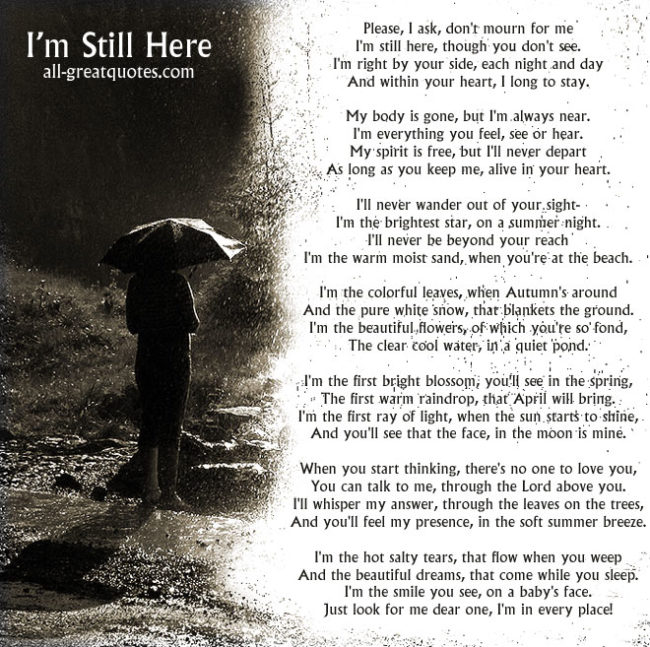 I'm still Here - Please, I ask, don't mourn for me
