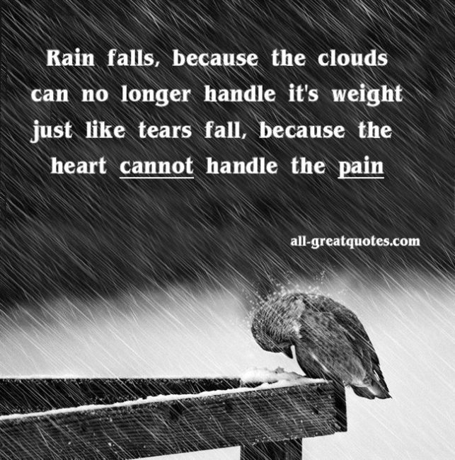 Rain falls because the clouds can no longer handle it's weight