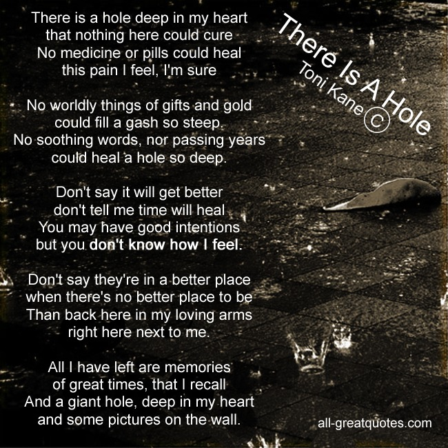 There Is A Hole Toni Kane Grief Poems Cards