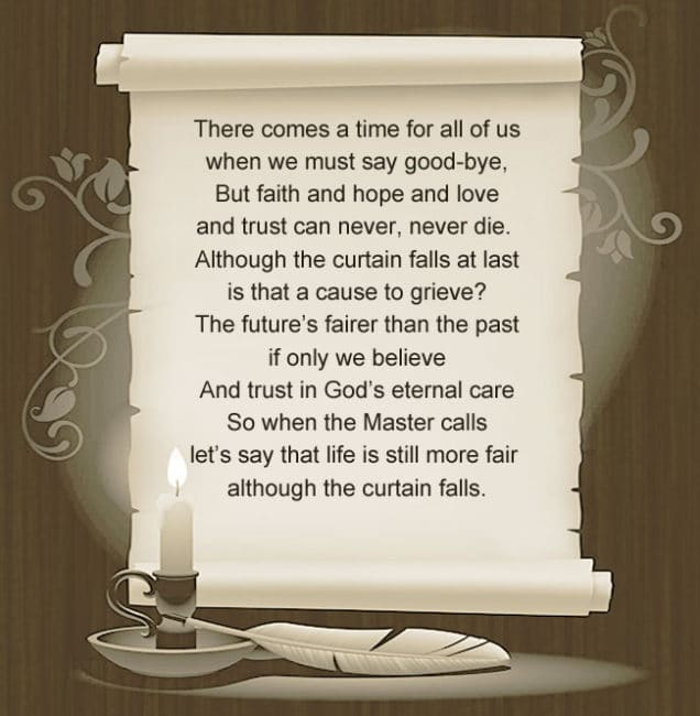 There comes a time for all of us when we must say good-bye