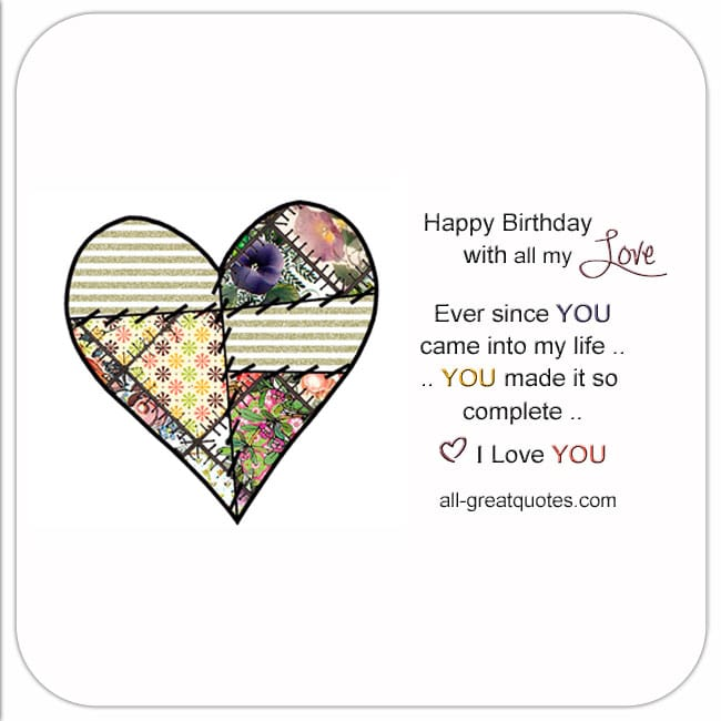 Free Birthday Cards For Love