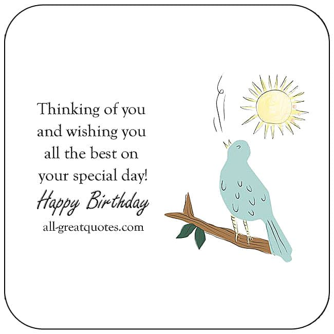 Thinking Of You And Wishing You All The Best Cute Bird Sun Birthday Card