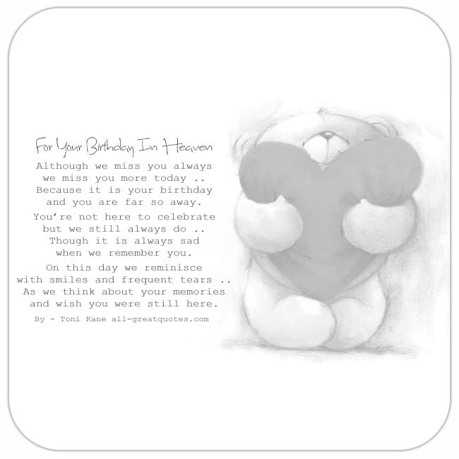 Happy 40th Birthday In Heaven Quotes: Free Birthday Cards For Lost Loved Ones