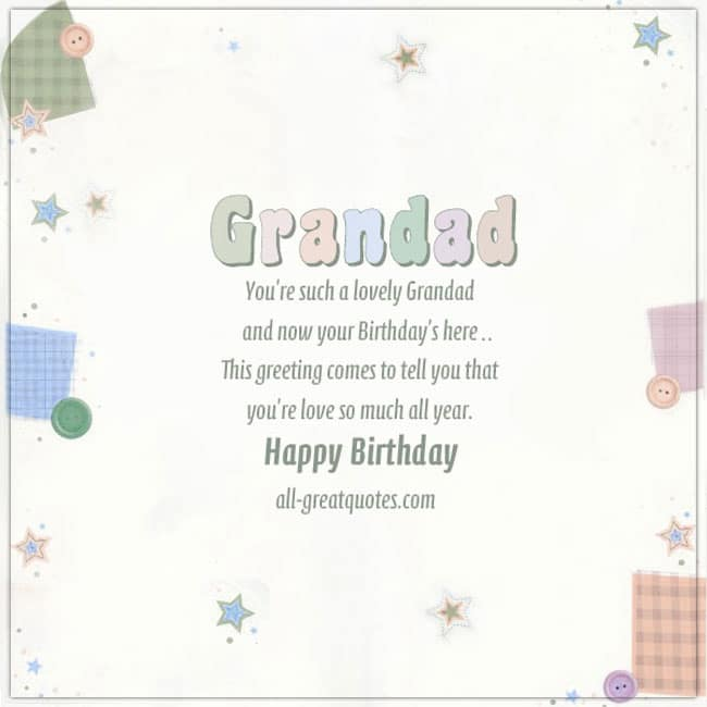 Grandad Birthday Card For Facebook. Image Pastel Colors with buttons stars plaid plaid background.
