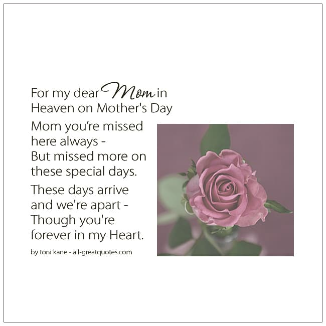 For My Mom In Heaven On Mothers Day In Heaven Cards