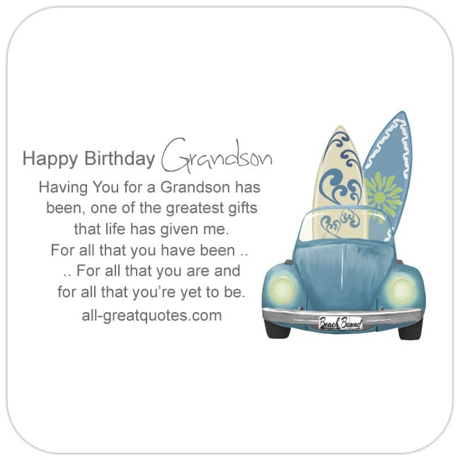 Grandson Free Birthday Cards For Facebook Lovely Verse Car Pic - Volkswagen Car and Surfboards