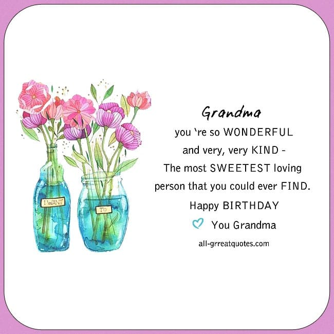 Grandma You Are So Wonderful Free Birthday Cards For Grandmother