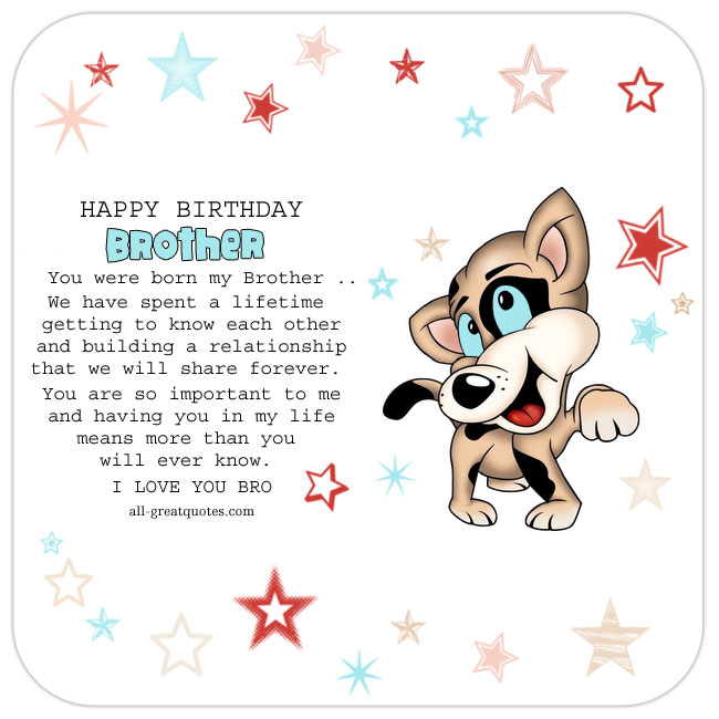 Happy Birthday Brother Bro Free Card With Cartoon Dog Stars Background For Facebook