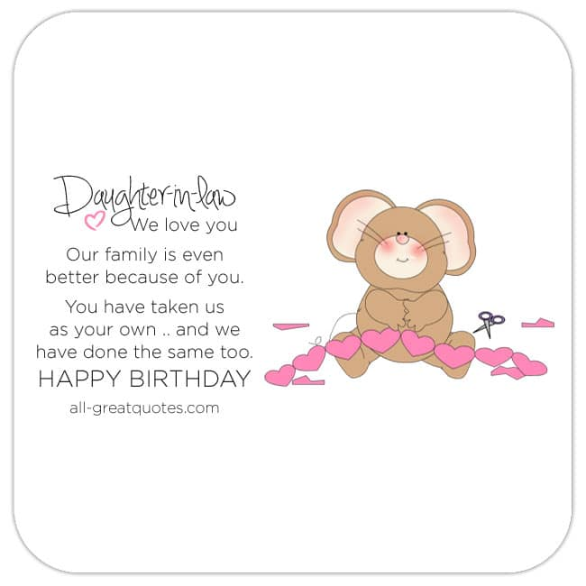 Daughter-in-law Free Card, Cute Bear With Heart Picture