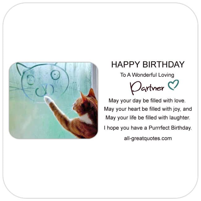 Free Birthday Cards For Partner. Cute Cat Birthday Card for a loving Partner